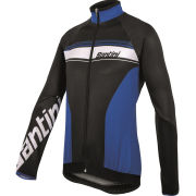 Santini Fluke Thermofleece Long Sleeve Jersey - Black/Blue
