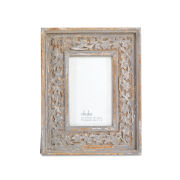"Nkuku Apana Carved Wood Frame - Distressed Grey - 6 x 4"""
