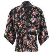 Influence Women's Floral Print Kimono - Black