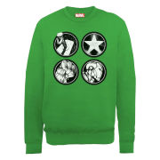 Marvel Avengers Assemble Main Logos Men's Sweatshirt - Irish Green