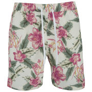 Soul Star Men's Hibiscus Swim Shorts - Ecru