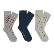 French Connection Men's Ken Dot-to-Dot 3 Pack Socks - Geo Pack - Grey