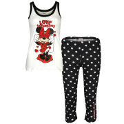 Minnie Mouse Women's Polka Dot Pyjama Set - Black & Cream