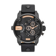 Diesel Watches Little Daddy 51mm Leather Strap Watch - Black/Rose Gold