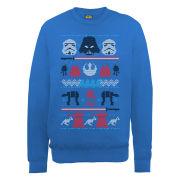 Star Wars - Christmas Darth Vader Knit Effect Sweatshirt - Royal Blue