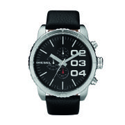 Diesel Watches Franchise 51mm Leather Strap Watch - Black