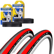 Schwalbe Durano S Clincher Road Tyre Twin Pack with 2 Free Inner Tubes - Red 700c x 23mm