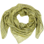 French Connection Textured Check Silk Scarf - Black/Green