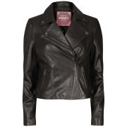 Barneys Women's Real Leather Biker Jacket - Dark Brown