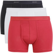 DKNY Men's 53100 Basics Boxer Brief 3 Pack - White/Black/Red