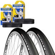 Veloflex Corsa 25 Clincher Road Tyre Twin Pack with 2 Free Inner Tubes - Black 700c x 25mm