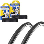 Schwalbe Ironman Folding Clincher Tyre Twin Pack with 2 Free Inner Tubes - Black - 700 x 22mm