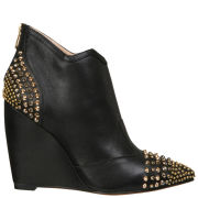 Lola Cruz Women's Studded Toe Wedged Leather Shoe Boots - Black