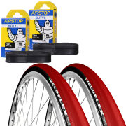 Veloflex Corsa 25 Clincher Road Tyre Twin Pack with 2 Free Inner Tubes - Red 700 x 25mm