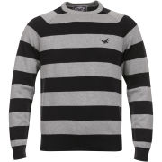 French Connection Men's Bumble Stripe Jumper - Blue/Grey