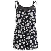 AX Paris Women's Daisy Print Playsuit - Black