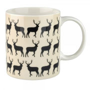 Anorak Kissing Stags Fine China Mug - Black/Cream