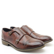 Base London Men's Cylinder Monk Brogues - Burnished Brown