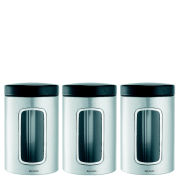 Brabantia 1.4 Litre 3 Piece Fingerprint Proof Window Canister Set - Matt Steel