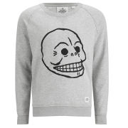 Cheap Monday Men's Neil Sweatshirt with Skull Embroidery - Light Grey Marl