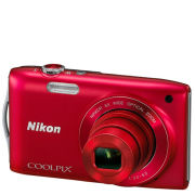 Nikon Coolpix S3200 Compact Digital Camera (16MP  6x Optical Zoom  2.7 Inch LCD)  Red  Grade A Refurb