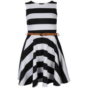 Club L Women's Striped Sleeveless Belted Skater Dress - Black/White