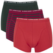 Bjorn Borg Men's Basic Stripe 3 Pack Boxers - Chilli Pepper