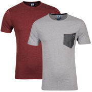 Carter Men's Boom Pocket T-Shirt 2-Pack - Grey Marl and Burgundy Marl