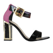 Kat Maconie Women's Marie Silk/Leather Mid Heels - Black/Magenta/Bird Print