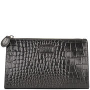 OSPREY LONDON Large Belle Croc Leather Make Up Bag - Black