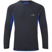 RonHill Men's Advance Long Sleeve Crew T-Shirt - Black/Ultramarine