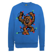 Star Wars - Christmas Chewbecca Fairly Lights Tangle Sweatshirt - Royal Blue