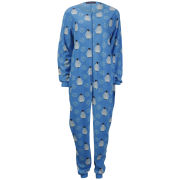 Tom Franks Women's Micro Fleece Printed Onesie - Penguin Blue
