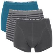 Bjorn Borg Men's Basic Stripe 3 Pack Boxers - Smoked Pearl