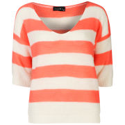Club L Women's Striped Crew Neck Knit - Coral/White