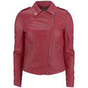 Muubaa Women's Carmona Leather Biker Jacket - Pomegranate