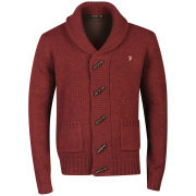 Farah 1920 Men's Monk Long Sleeve Cardigan - Red Marl