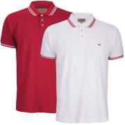 Brave Soul Men's Oblivion 2 Pack Tipped Pique Polo Shirt - White/Red