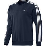 adidas Men's Essential 3 Stripe Crew Neck Sweatshirt - Navy/White