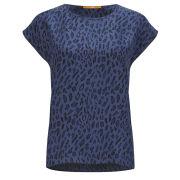 BOSS Orange Women's Leopard Print Silk Tunic - Navy