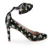 Carven Women's Liberty Printed Bow Heeled Leather Court Shoes - Black