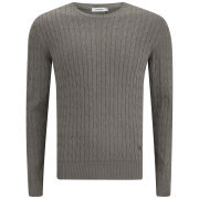 J.Lindeberg Men's Jave Allover Braid Cable Knitted Jumper - Light Brown Melange