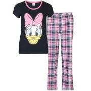 Daisy Women's Checked Pyjama Set - Pink & Charcoal