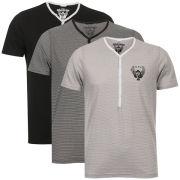 Ringspun Men's 3-Pack Meteor Short Sleeve Grandad T-Shirt - Black Striped/Black/Grey Striped