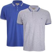 Brave Soul Men's Oblivion 2 Pack Tipped Pique Polo Shirt - Royal Blue/Grey Marl