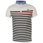 Soul Star Men's Kyle Striped Polo Shirt - White/Navy