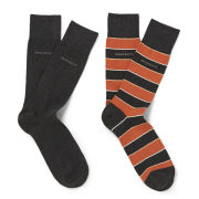 BOSS Black Men's Two Pack Cotton Socks - Black/Orange