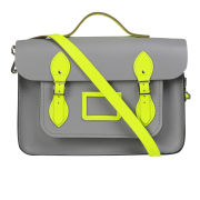 The Cambridge Satchel Company 14 Inch Leather Designer Batchel - Grey/Fluorescent Yellow