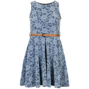 Club L Women's Sleeveless Bonded Lace Flocked Belted Skater Dress - Navy/White