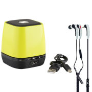 iLuv MobiOne Bluetooth Portable Speaker with Mic - Green + Free VIBE Earphones
